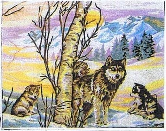 Wolf And Cubs Tapestry Canvas Gobelin