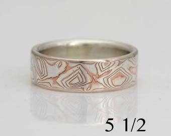 Mokume gane ring, size 5 1/2, sterling silver and copper, #435.