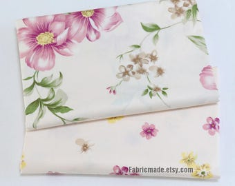 Pink Flower Cotton Fabric, Large Small A B Floral Cotton For Quilting Clothing- 1/2 yard