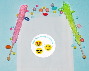 Emoji Face Birthday Favor Bags, Personalized Treat Bags, Snack Birthday Party Favors, Candy Rainbow Party Bags, Treat Favor Bags