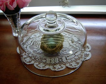 Glass cake dome chipped lid cover cloche en verre 10 1/4 inch cake dome kitchen storage food cover