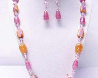 Assorted Shape/Size/Color Pink Foil Lined Glass Bead Necklace & Earrings Set