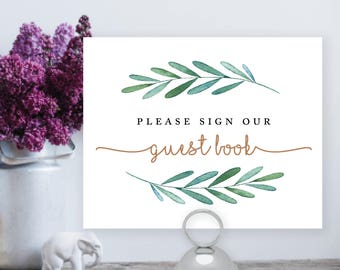 Printable Please sign our Guest Book, Greenery, Botanical, wedding, guestbook sign, printable sign, wedding digital file –Waverly
