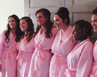 Set of 4 Bridesmaid Robes -Monogrammed Robes -Waffle Weave Robes -  Thigh length Robe - Bridal Robes - Bridesmaid Gifts - Personalized Robes