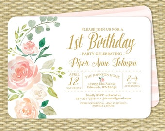 Pink and Gold Floral First Birthday Invitation Girl 1st Birthday Invite Blush Pink Floral Birthday Invitation 2nd Birthday ANY EVENT