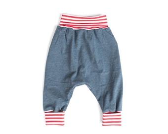 Blue organic harem pants, organic slouchy pants, plain toddler clothes,  toddler hipster pants, boy sarouel pants, toddler pants