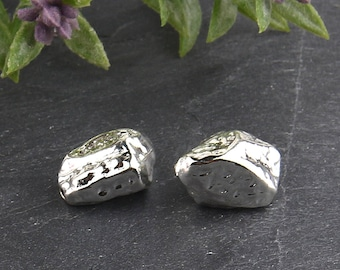 Textured Freeform Shiny Silver Beads, 2 pieces // SB-108