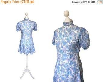 On Sale Blue Floral 60's Mini Dress | 1960's Vintage Dress | Puff Sleeve Skater Dress