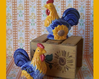 Avon Blue Chicken Roosters Salt and Pepper Shakers China