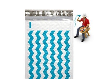 On Sale 20 6x10 Teal Chevron Poly Bubble Mailers Self Seal Envelopes size 0 6x9 usable size Padded Mailing Shipping Envelopes