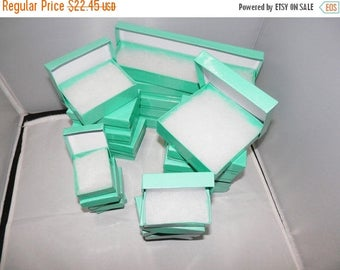 On Sale Cotton filled Jewelry Boxes  Lot of 50 Assorted Size, Teal  Presentation boxes