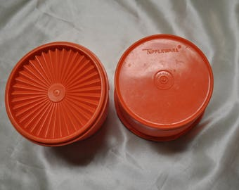 Set of 2 Orange Servalier Canisters - 3 1/2 by 5 1/2 - 4 Cup
