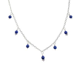 7 Drop Lapis Lazuli Beaded Necklace on Sterling Silver or 14k Gold Fill