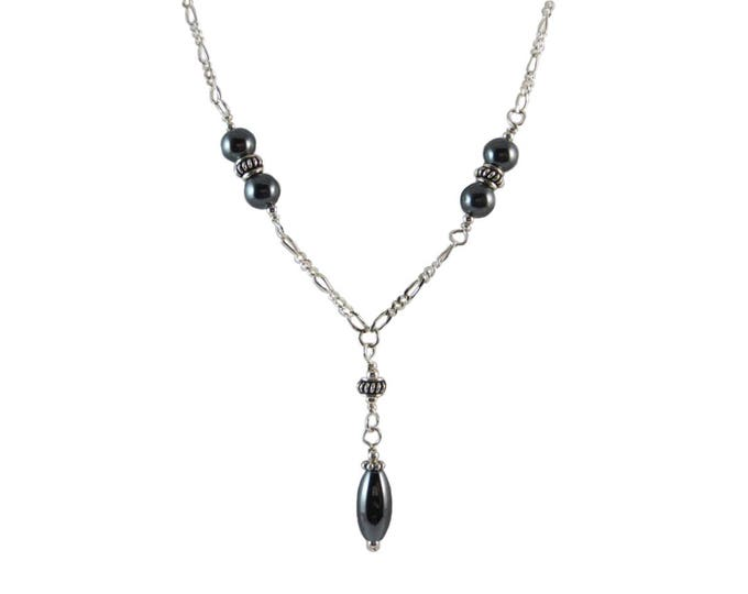 6 mm Hematite Oval Bead Y Necklace on Sterling Silver or 14k Gold Fill