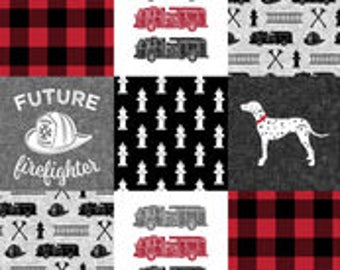 Firefighter Patchwork Print Minky Blanket or Quilt