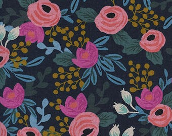 Rosa in Navy (Canvas) - Menagerie - Rifle Paper Co. for Cotton and steel by RJR Fabrics