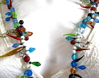 Glass Necklace Dolphins Elephants Fantasy Shapes, Colorful Murano  Globes, Amorphous Stems, Tendrils, White Witch Necklace, 28-Inches