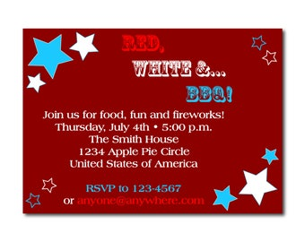 """Labor Day  Fourth of July   Memorial Day Party Invitation   4x6"""" or 5x7""""   BBQ   Cookout   Picnic   Summer   Dinner   Reunion   Printable"""