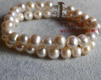 genuine pearl bracelet,wedding bracelet,double strand ivory freshwater pearl bracelet, jewelry,2 row ivory bead bracelet,bridesmaid bracelet