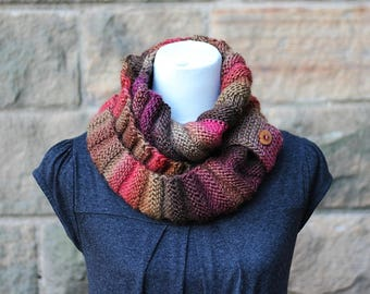 KNITTING PATTERN - walnut infinity loop scarf, womens scarf pattern with button cuff - Listing32