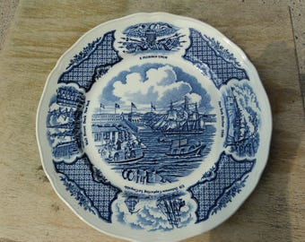 Blue and white plate from Fair Winds Series/ historical scenes of Chinese Export to America