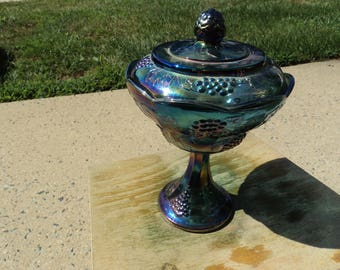 Wedding Bowl by Indiana Glass in translucent blue Carnival glass/circa 1970