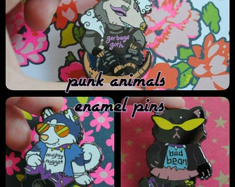 Punk Animals Enamel Pins - Sets & Individual - Bad Bean, Naughty Nugget, Garbage Goth Pins