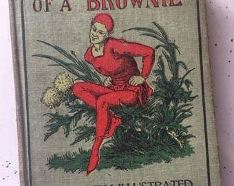 Antique Book Adventures of a Brownie // Vintage Fairy Book // Vintage Cloth Brownie Fairy Fantasy Book