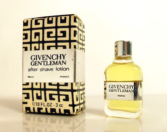 Vintage 1970s  Givenchy Gentleman 1/10 oz After Shave Lotion Miniature Mini Perfume Cologne and Box