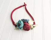 Glisten to Your Heart - adorable floral crown tieback in wine red, teal, turquoise, aqua, off white ivory and gold champagne  (RTS)