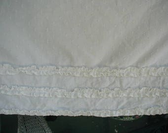 "Vintage Curtain  Panel, 1 Panel, White Chenille With Ruffles,  73"" long x 41"" wide,  Shabby Cottage, Cottage Chic"