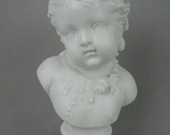 """Beautiful Vintage Parian Ware Bust, """"Printemps"""" or """"Spring"""", White Bisque Porcelain, Vion and Baury, Blue Pad Mark, 9 3/4"""" tall"""