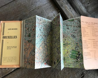 French Map, Bruxelles, Travel Tourist Guide, Authentic 1940s 50s
