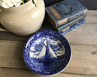 English Wedgwood Soup Plate, The Lillie off Telegraph Hill, Etruria England, Blue and White Transferware, Made in England