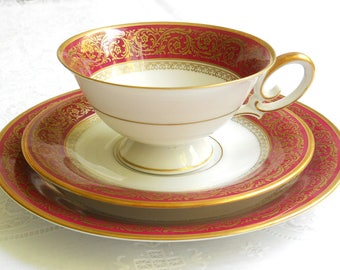 antique red teacup trio vintage tea set Bavaria porcelain tea cups tea trio german teacup retro tea cup Tirschenreuth tea cup 45