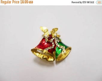 On Sale Vintage Enameled Christmas Bell Pin Item K # 2511