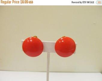 ON SALE Vintage Orange Plastic Disc Earrings Item K # 1593