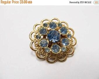 ON SALE Vintage Baby Blue Rhinestone Pin Item K # 1733
