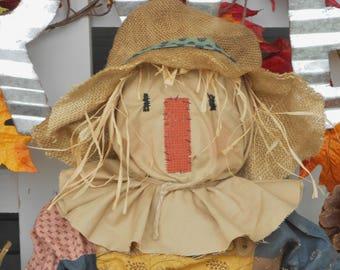 Primitive Scarecrow with Pumpkin, Primitive Fall Decoration--tbu 712