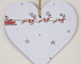 Wooden Hanging Heart in Sophie Allport Starry Night