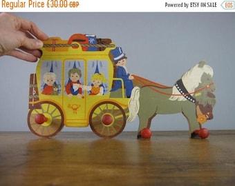 SALE 30% OFF Vintage Coat Rack by Mertens Kunst, West German, hooks, naive illustration, horse and carriage, kids room decor