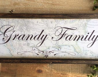 Family Name Sign Wood Map Walnut Last NameWhite Distressed wood Large Typography Hand Lettering  Framed Signs Black and White Clean Simple