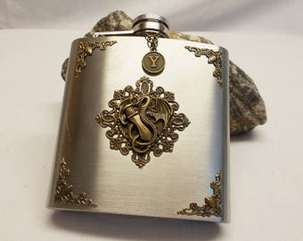Dragon with Sword Flask - Stainless Steel Flask in Velvet Gift Bag -  Artisan Hand Designed Flask - Personalize Flask with Initial