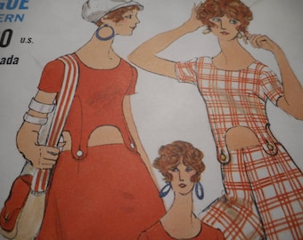 Vintage 1960's Vogue 7601 Top, Skirt, and Pants Sewing Pattern, Size 12 Bust 34