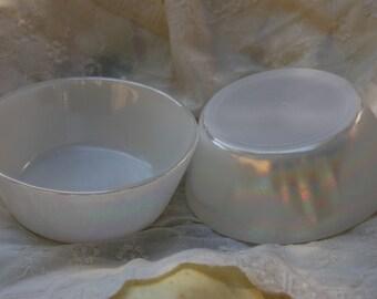 Vintage Carnival Milk glass cereal bowls. Vintage milk glass fruit bowls. Iridescent milk glass bowls