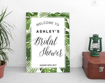 Welcome Bridal Shower sign   Tropical Party   INSTANT DOWNLOAD   PDF file editable with Acrobat Reader   personalized bridal party sign