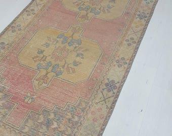 4 by 8 rug / Vintage Oushak Rug / Vintage Rug / Oushak Area Rug / Turkish Vintage Rug / Oushak Rug / Area Rug / Boho Rug / Low Pile Rug