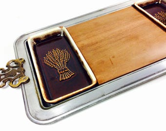 1970s Pfaltzgraff Pewter/Wood/Stoneware Serving Tray/Cheese Board with Stoneware Bowls/ Harvest Touchmark Wheat, Fall/Holiday Entertaining