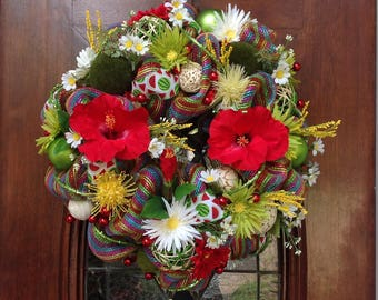 Colorful Hybiscus Summer Wreath