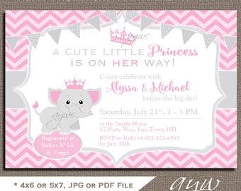 Elephant Baby Shower Invitation Girl Elephant Baby Shower Invitations Printable Invitation Princess Elephant Baby Shower Girl Pink Grey